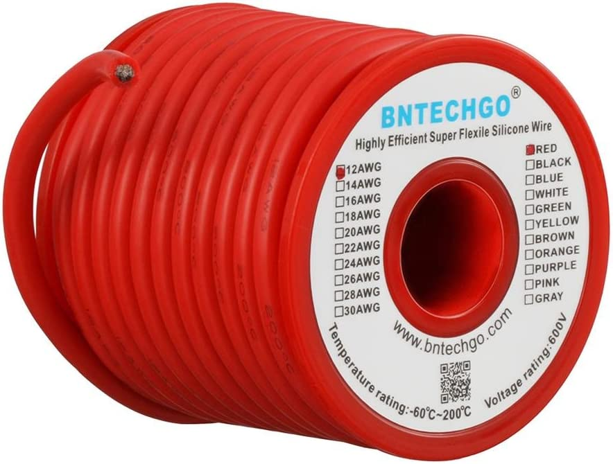 BNTECHGO 12 Gauge Silicone Wire Spool 25 ft Red Flexible 12 AWG Stranded Tinned Copper Wire: Car Electronics