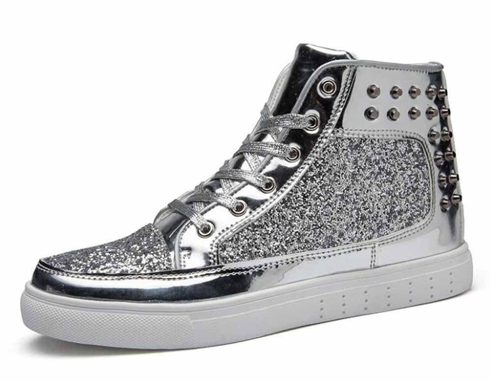 Men And Women Rivets Rock Punk Flat Shoes Couple Fashion Skateboard Shoes Unisex Hi-Top Sneakers ( Color : Silver , Size : 42 )