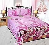 Barbie Princess Kids CartoonDouble Bedsheet With 2 Pillow Covers