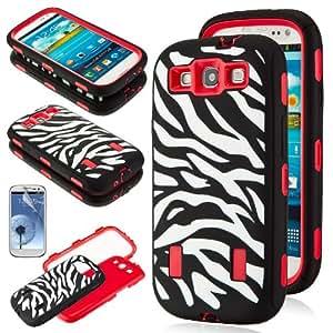 Black White Zebra Combo Hard Soft High Impact Samsung Galaxy S3 SIII i9300 Armor Case Skin Gel w/ Screen Protector (Red)