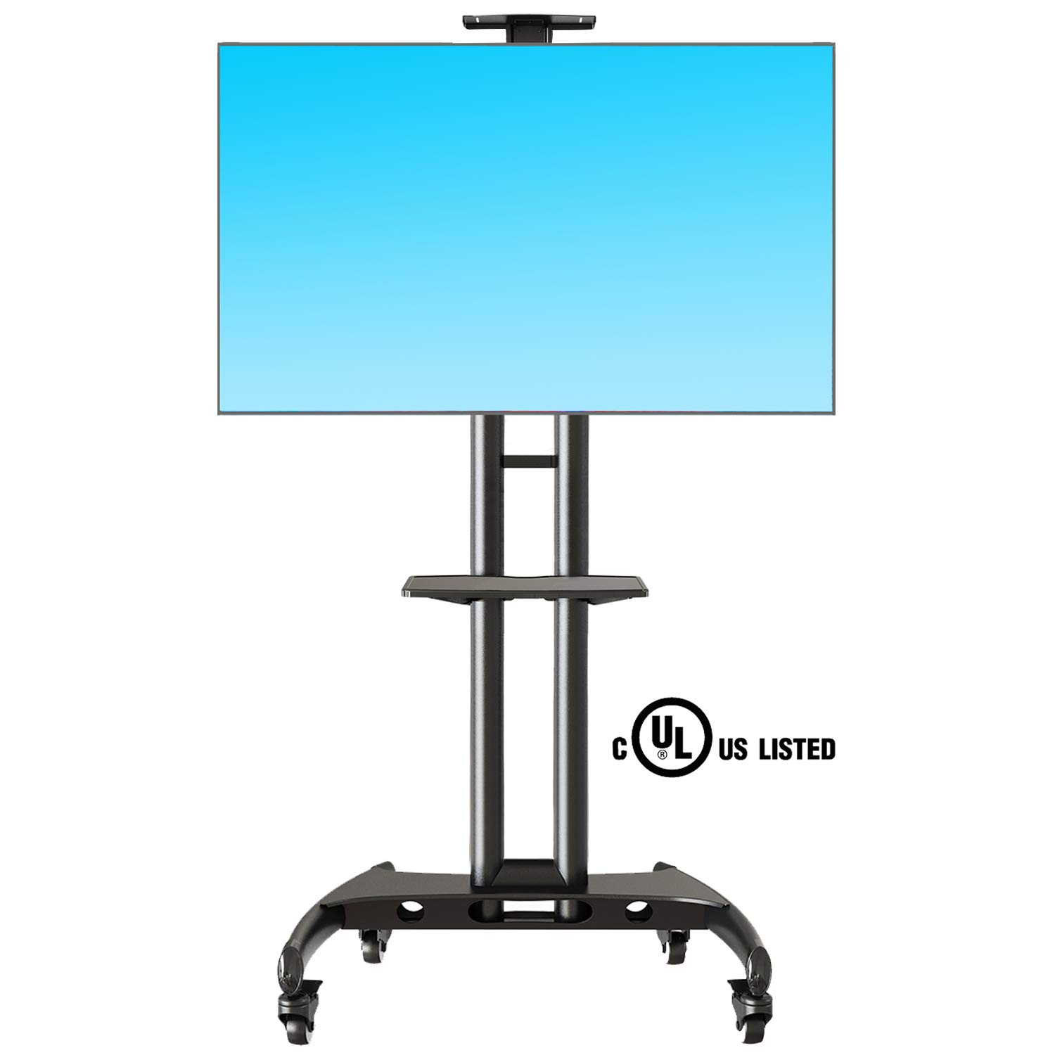 NB North Bayou Mobile TV Cart TV Stand with Wheels for 32 to 65 Inch LCD LED OLED Plasma Flat Panel Screens up to 100lbs AVA1500-60-1P (Black) by NB North Bayou