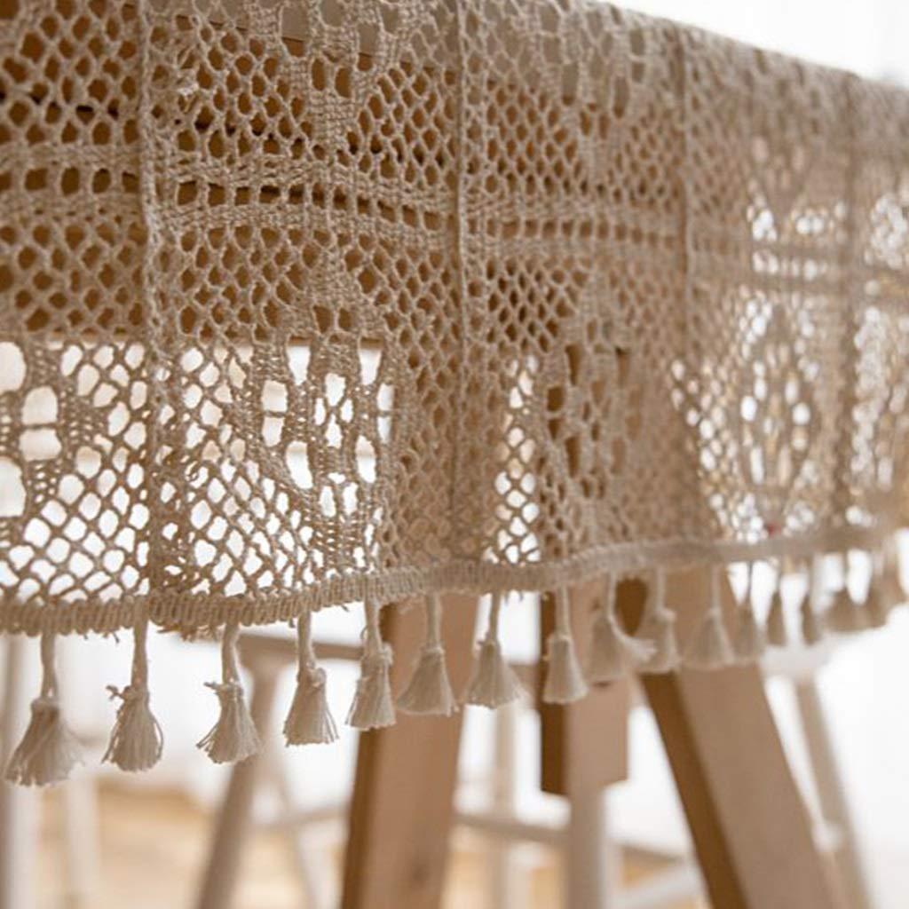 Tablecloth Vendimia Crochet Americano Flor De Encaje Redondo Mantel Jardín Tejer Hollow Art Tea Table Cloth Cloth Fondo De La Tela (Color : Blanco, ...