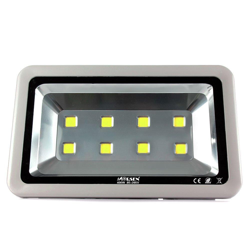Attractive LED Flood Light, Morsen Super Bright 400W Daylight White 6000K Floodlight  Fixture, 40000lm, 8LEDs, Waterproof IP65 Outdoor Security Light Wall Light  ...