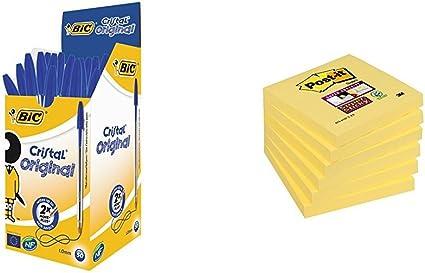 BIC Cristal Original - Pack de 50 bolígrafos + Post-It Super ...