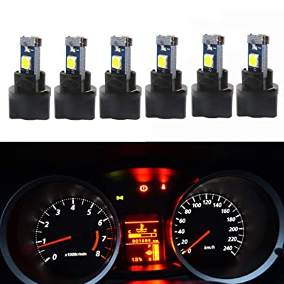 WLJH 6Pack White Dash Lights PC74 Twist Locket Socket Wedge T5 LED Bulb 37 74 2721 3030SMD Dashboard Instrument Cluster Bulbs,Plug and Play: Automotive