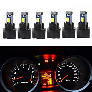 WLJH 6Pack White PC74 Twist Locket Socket Wedge T5 LED Bulb 37 74 2721 3030SMD Dashboard Instrument Cluster Dash Light Bulbs,Plug and Play