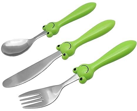 EXZACT - 3 pieza para niños cubertería - 1 x cena cuchillo, 1 x cena