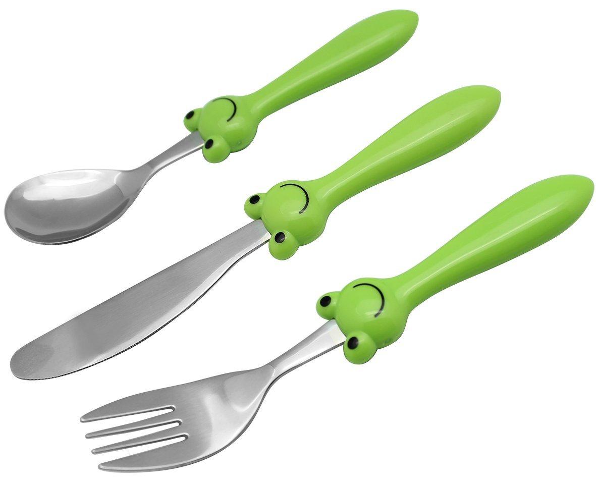 EXZACT - 3 pieza para niños cubertería - 1 x cena cuchillo, 1 x cena tenedor, 1 x cena cuchara (Rana x 3)