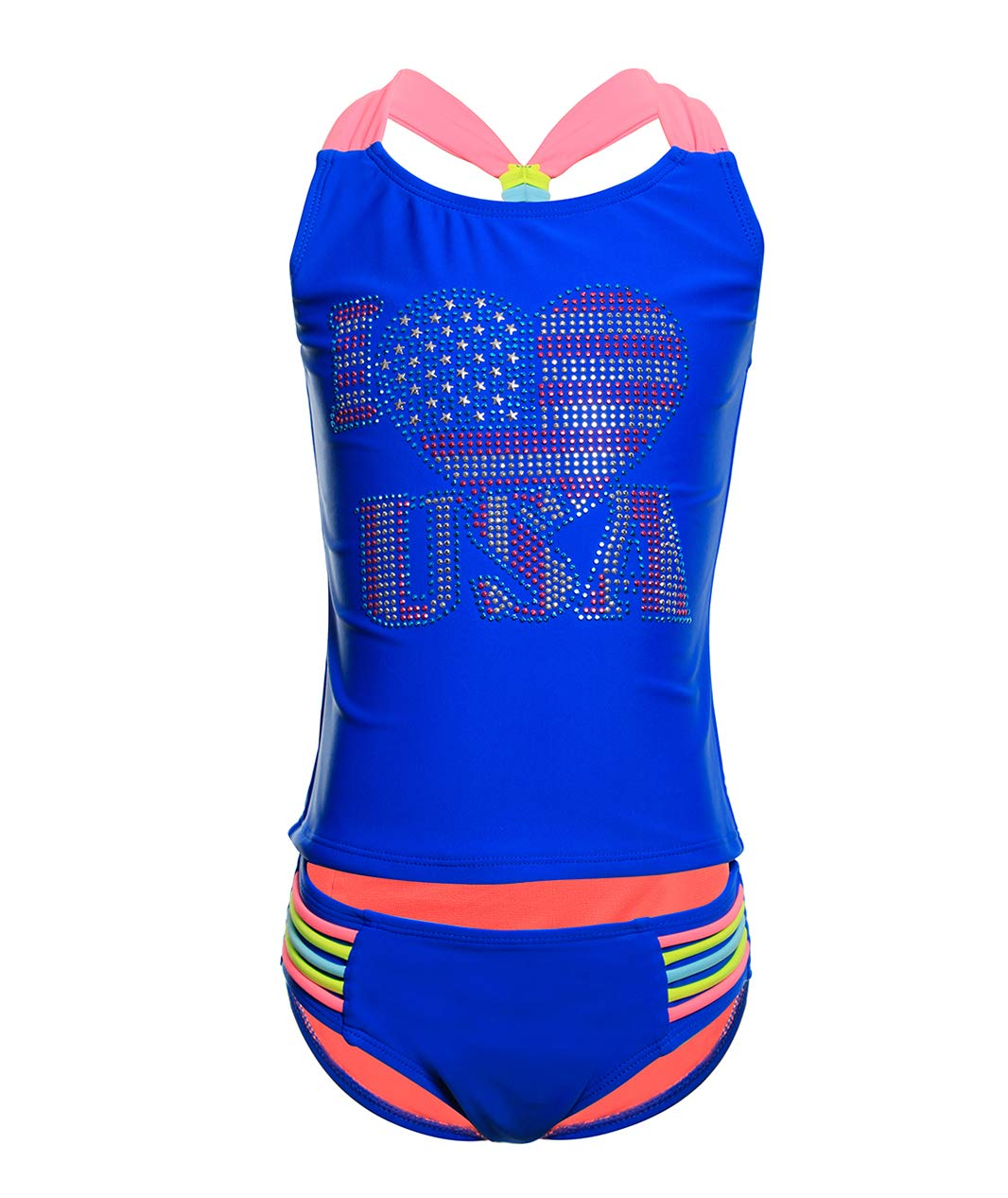 BELLOO Girl's Cross Straps Two Piece Tankini Swimsuit Navy Blue, Size 4-5