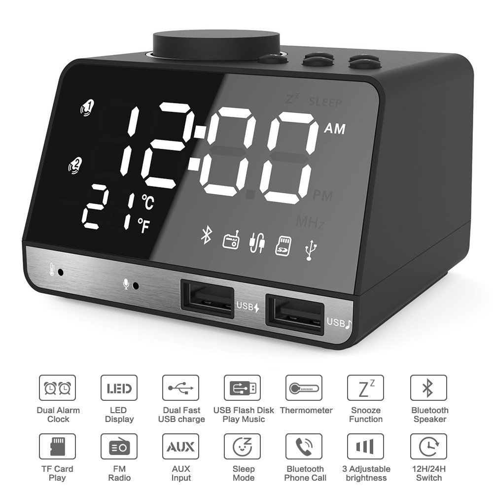 Alarm Clocks for Bedrooms, 4.2'' LED Digital Alarm Clock Radio with FM Radio, Dual USB Port for Charger, Snooze, Bluetooth AUX TF Card Play, Battery Backup, Best Gift for Men