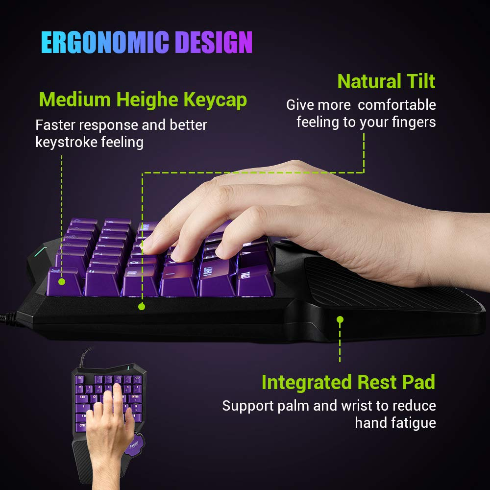 One Handed Keyboard APEX etc RGB LED Backlit USB Wire Game Keypad