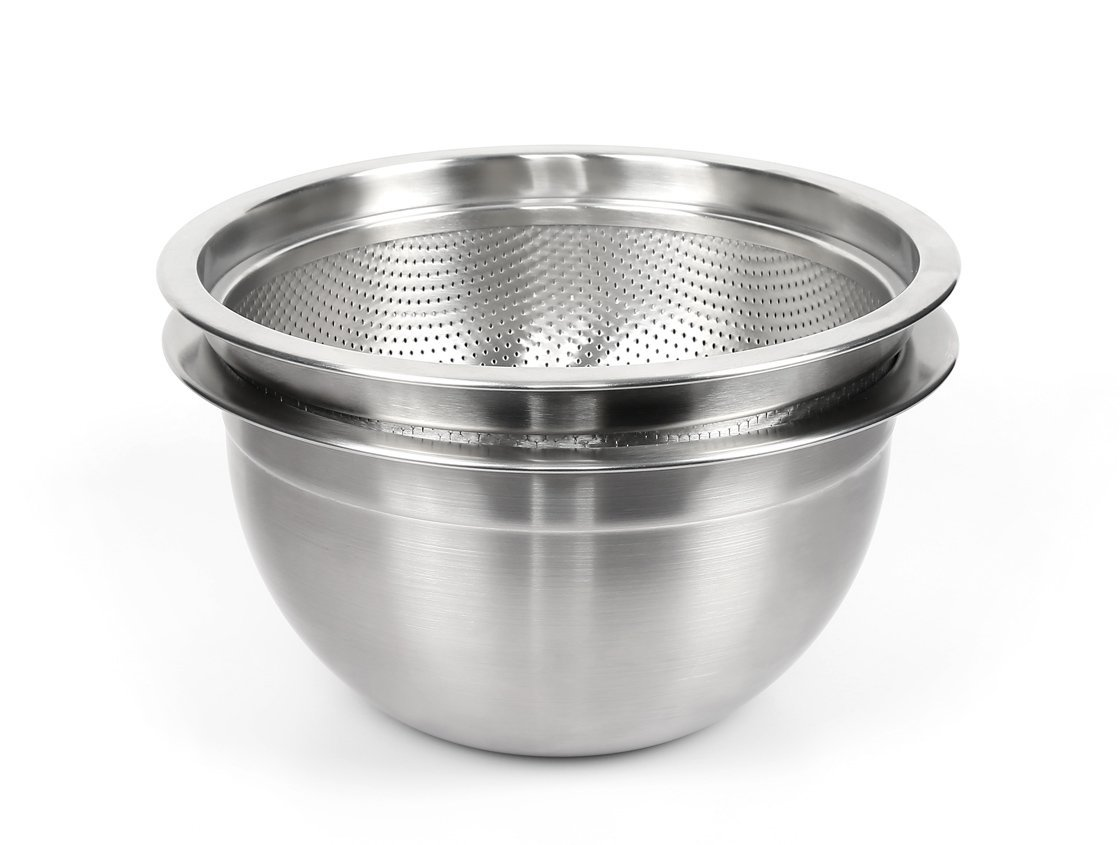 SERAFINO ZANI Rhine Series 18/10 Stainless Steel 24cm (9.5-inch) Mixing Bowl and Colander Set by SERAFINO ZANI