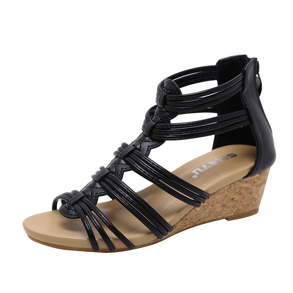Hemlock Ladies Strap Slope Heel Sandals Back Zipper Sandals Open Toe Ankle Summer Popular Shoes for Women Black