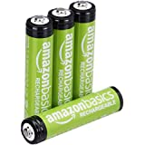 Amazon Basics 4-Pack AAA Performance 800 mAh Rechargeable Batteries, Pre-Charged, Recharge up to 1000x