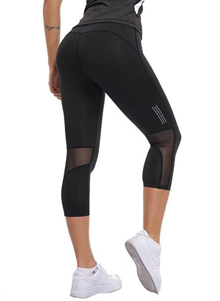 23550463beeb4 Women Capri Running Leggings Breathable Fitness Tights Slimming 3/4 Yoga  Pants Stretchy Workout Trousers: Amazon.co.uk: Clothing