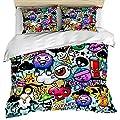 Anzona 3 Piece Bedding Set Include 1 Duvet Cover 2 Pillow Shams, Happy Halloween Graffiti Art Cartoon Pattern Comforter Cover Set with Zipper Closure Bedspread Decorative for Kids/Teens/Adult
