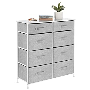 mDesign Vertical Furniture Storage Tower - Sturdy Steel Frame, Easy Pull Fabric Bins - Organizer Unit for Bedroom, Hallway, Entryway, Closets - Clear Front Windows - 8 Drawers - Gray