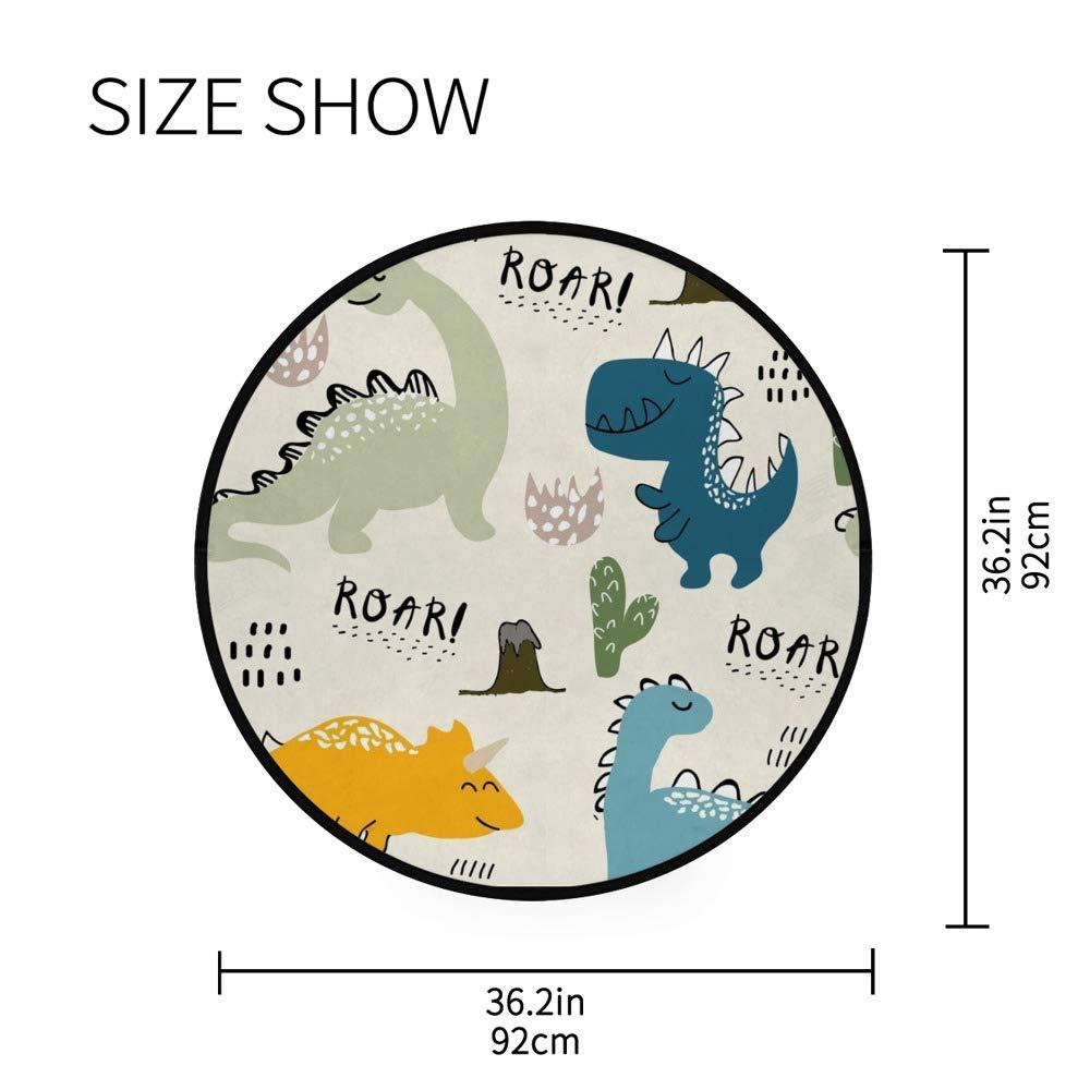 para sala de estar o dormitorio ligera para jugar al cuarto de ni/ños Orediy Alfombra redonda de espuma suave de 92 cm con dise/ño de dinosaurio para ni/ños