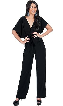 5d17dc217492 Amazon.com: KOH KOH Womens Short Kimono Sleeve One Piece Jumpsuit Cocktail  Romper Pant Suit: Clothing