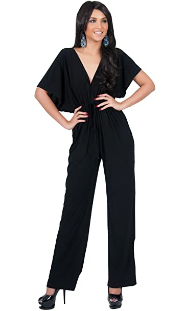 16a27d53120 Koh Koh Petite Womens Short Kimono Sleeve V-Neck Casual Sexy Wide Leg Long  Pants