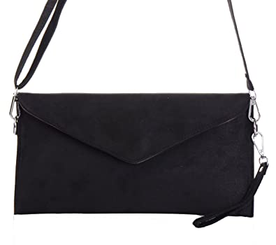 Amazon.com: Tedim Soft Faux Suede Black Envelope Clutch Handbag: Shoes