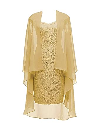 db30eba7d03 Column 3 4 Sleeves Lace Chiffon Short Wedding Mother Evening Dresses Formal  Gold Size 2