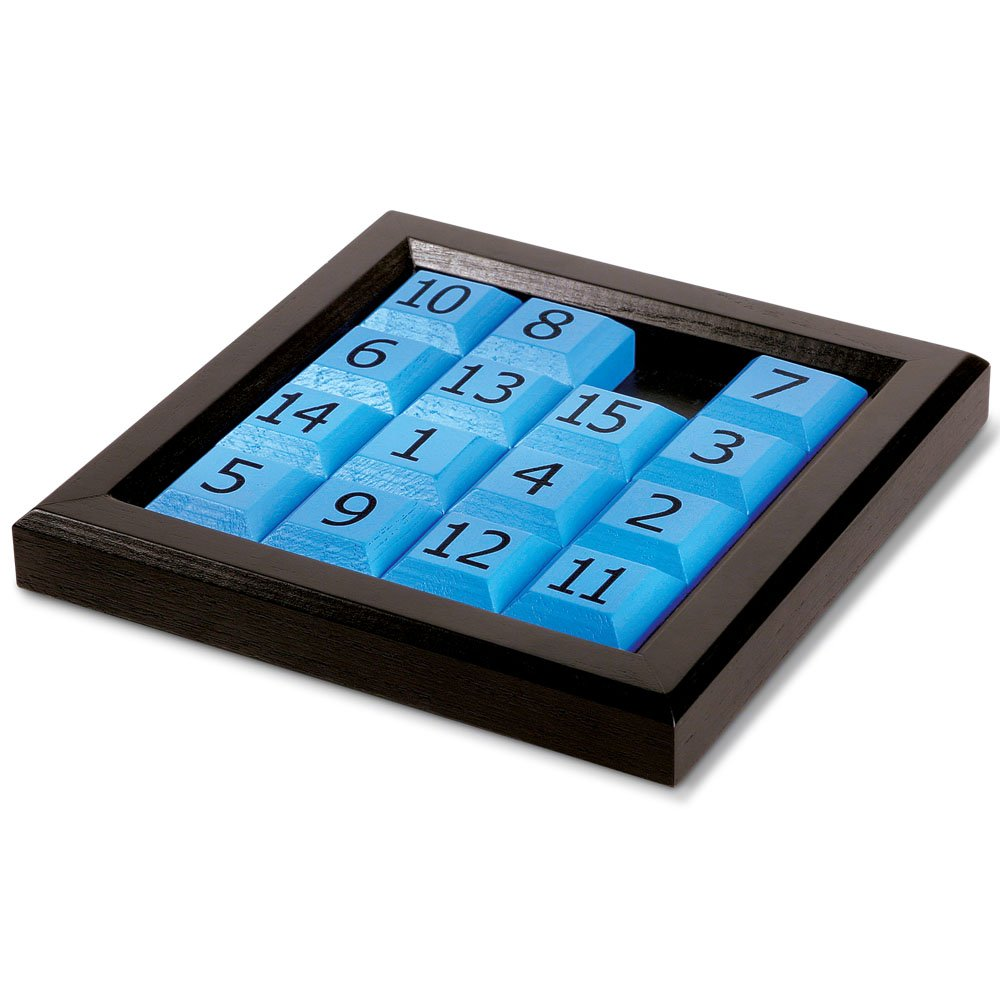 Launch Innovative Products James 15 Number Sliding Wooden Puzzle - Classic Wood Brain Teaser IQ Game