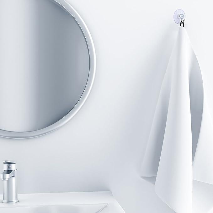5 stücke Badezimmer Küche Glas Klar Saugnapf Haken Wand Kleiderbügel 0U