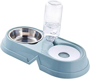 Double Dog Cat Bowls, 2 in 1 Pets Water and Food Bowl Set, Non Slip Anti Spill Stable Separation Design with Automatic Water Dispenser, Pet Food Feeder for Dog/Cat,Blue
