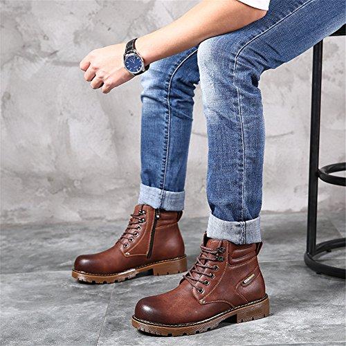 Glattleder Stiefeletten High-Top Stiefel für Herren Brown