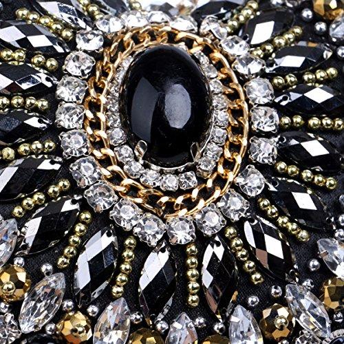 Damas De Pearl black Extravagante Heart Bolso Fiesta Xjtnlb Vestido Bordado Black Shaped 70FxvqX