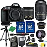 Great Value Holiday Bundle for D5300 with 18-55mm AFP + 55-300 VR + Tripod + 2pcs 32GB Memory Cards + Wide Angle + Telephoto + Reader + Lens Pen + Flash