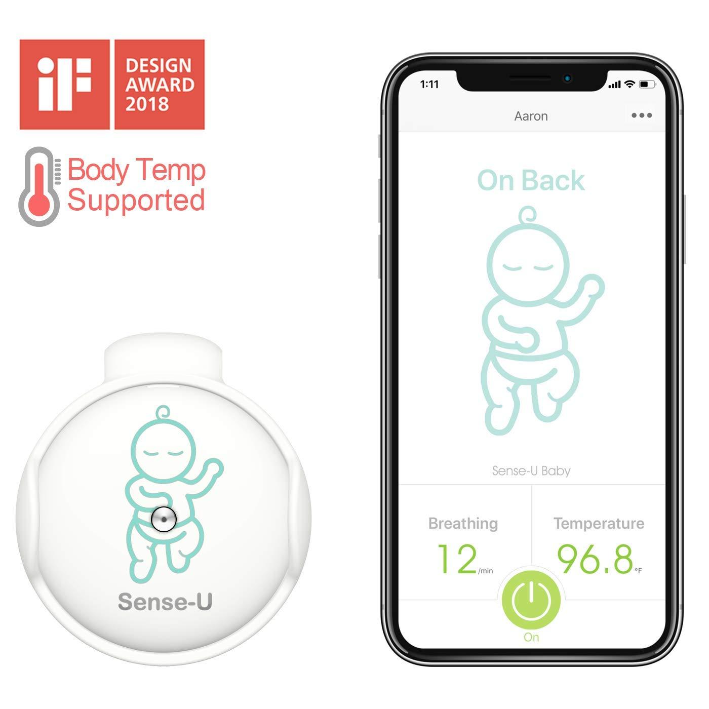 2020 New Model Sense-U Baby Monitor with Breathing Rollover Movement Body Temperature Sensors Track Your Baby s Breathing, Rollover, Body Temperature with New Clasp Design Body Temperature