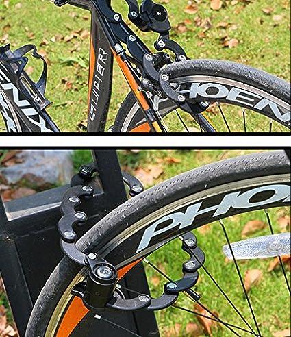 Homy Candado de seguridad plegable para bicicleta, Antirrobo Bloqueo Cable Hamburgo bloqueo clave bicicleta de montaña accesorios para bicicletas coche ...