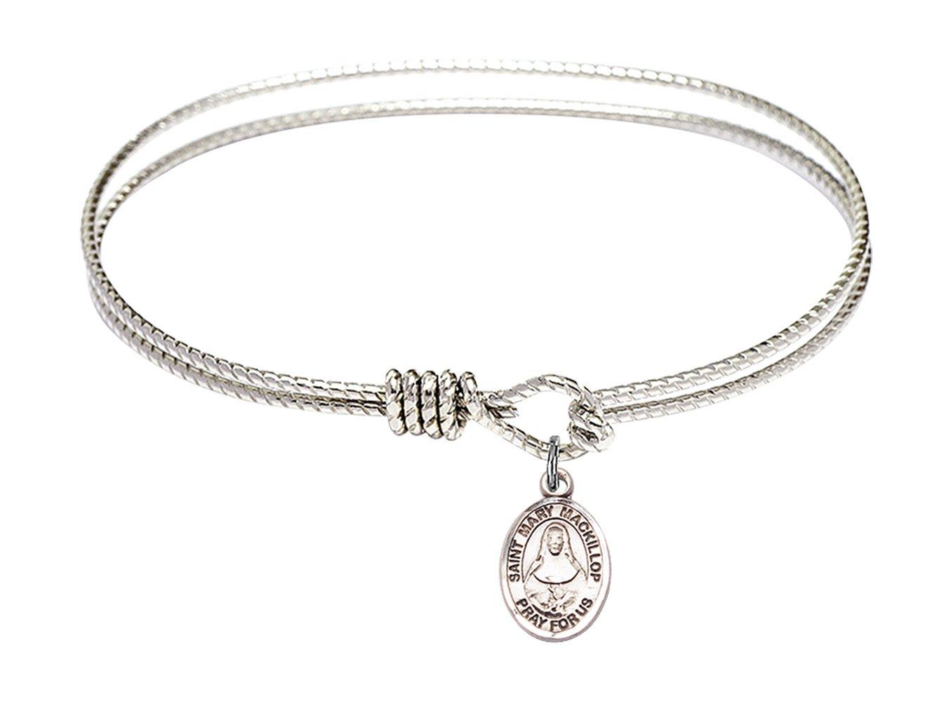 7 1/4 inch Oval Eye Hook Bangle Bracelet w/St. Mary Mackillop in Sterling Silver