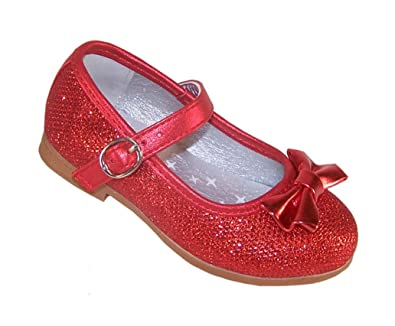 7ce7eb38b58e4 Infant Girls red Sparkly Glitter Party Ballerina Flat Dressing up Special  Occasion Shoes