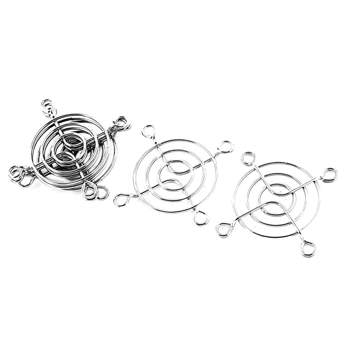 uxcell 5 x Axial 50mm Cooling Fan Grill Silver Tone Metal Wire Finger Guards