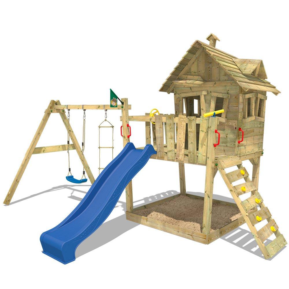 WICKEY Baumhaus Funny Farm Spielturm Kletterturm mit Rutsche Kletterwand Sandkasten und Strickleiter, blaue Rutsche