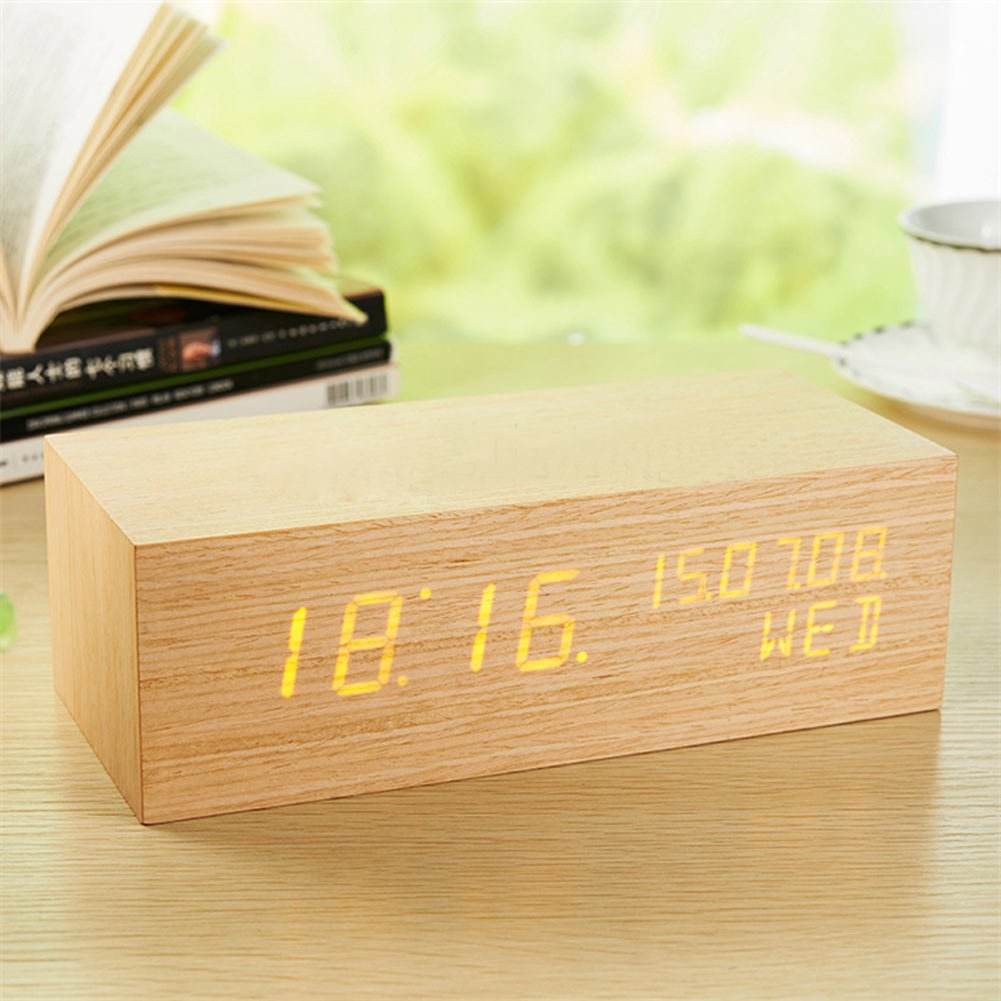 Zlimio Luminous Digital LED Wood Alarm Clock with Voice Control Timer Thermometer ,Wood-shaped Clock for Daily Life, Home and Office -L Size by Zlimio