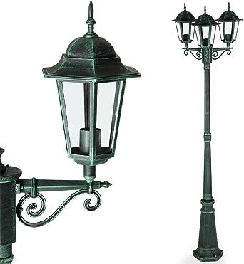Deuba Lámpara de pie con 3 faroles de aluminio verdes luz de exterior decoración de jardín terraza camino 226 cm: Amazon.es: Iluminación