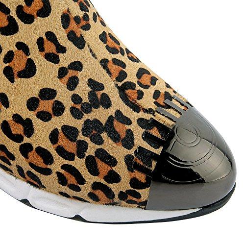 ENMAYER Mujeres Tacones de cuña de la Cremallera Botas de Tobillo Conveniente Leopardo