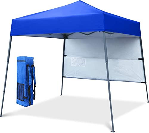COOSHADE 6x6Ft Compact Lightweight Backpack Canopy Sun Protection Pop-Up Shelter Slant Leg Beach Tent RoyalBlue