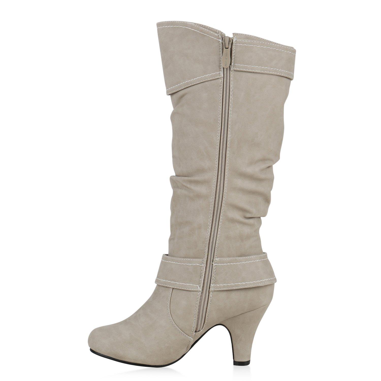 Stiefelparadies Warm Gefütterte Stiefel Damen Winter Boots Elegante Schnallen Trichterabsatz Wildleder-Optik Booties 128635 Creme 36 Flandell VY9U9X