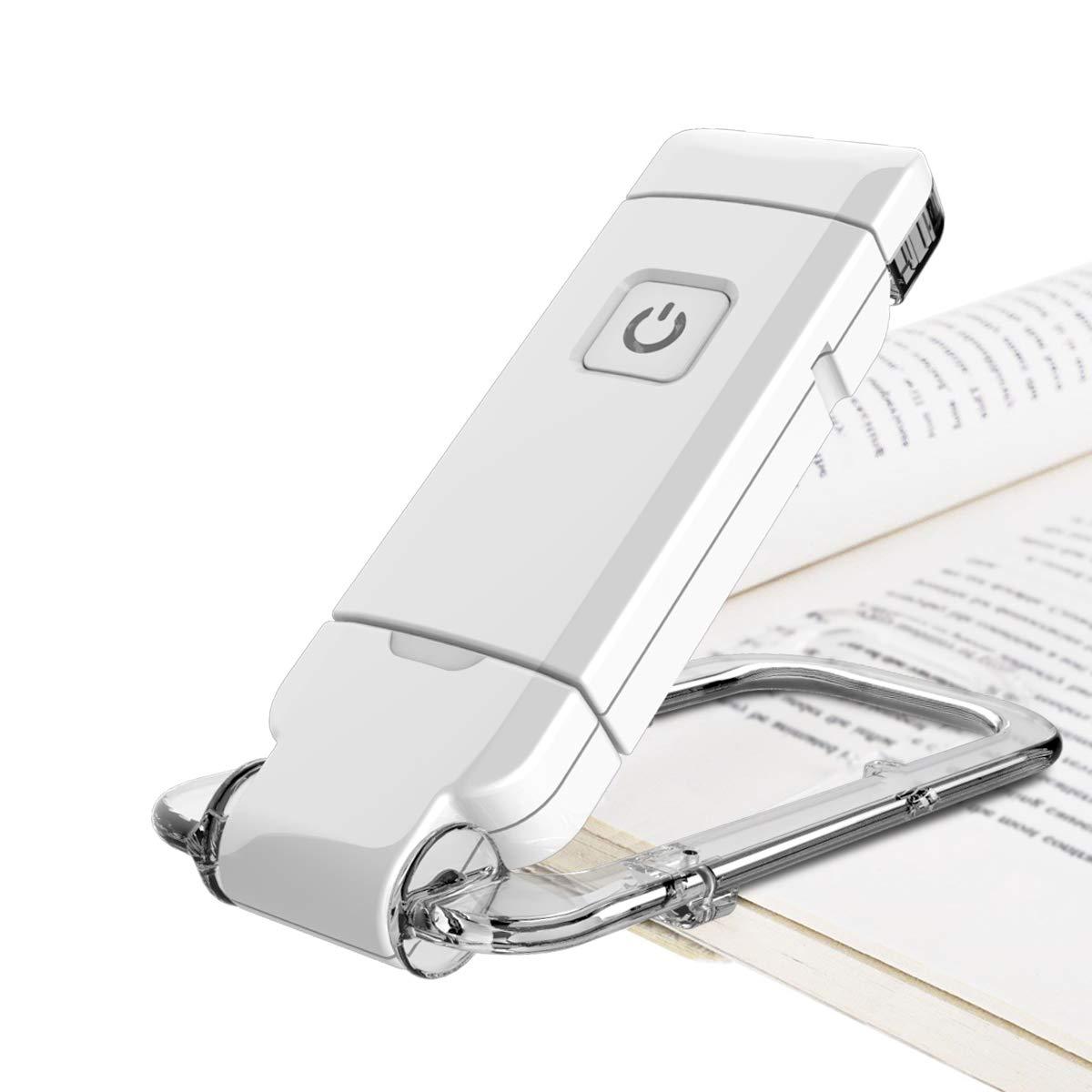 HONWELL LED Clip Leselampe Buch Klemm 1 Pack USB-Wiederaufladbare Buchleuchte Kinder und Helligkeit Verstellbare Bettleseleuchte in der Nacht, Touch-Schalter, Clip auf Bü cher Kindle