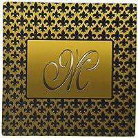 3dRose LLC Elegant Letter M Embossed in Gold Frame Over a Black Fleur-De-Lis Pattern on Gold Background Pattern Mouse Pad (mp_36091_1)