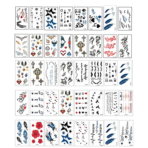 Price comparison product image Vanki 40 Sheets Premium Metallic Tattoos - Temporary Tattoos Shimmer Jewelry Inspired Fake Tattoo Designs in Gold, Silver, Black Wrist, waterproof Personal English letters