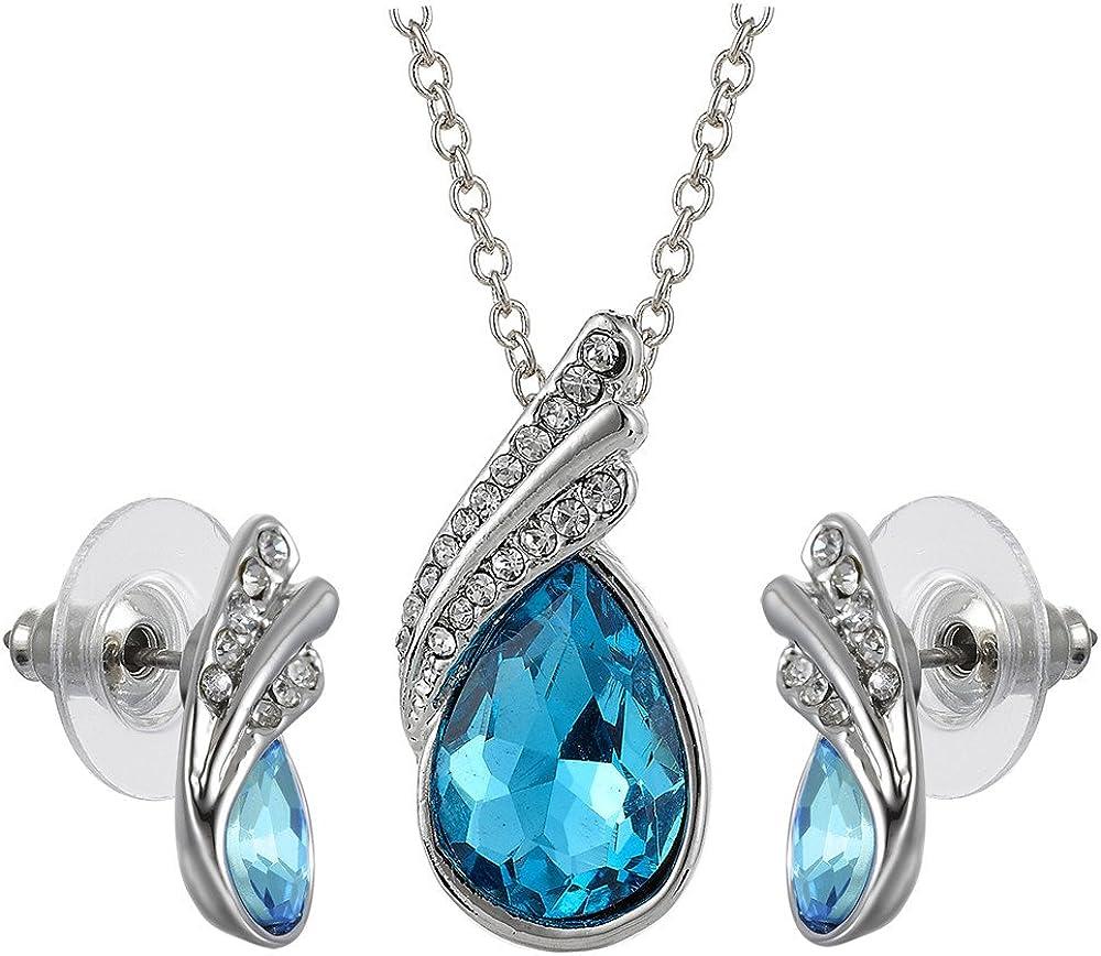 Swarovski collar cristalino de los elementos 18K Pendientes colgante conjunto de joyer¨ªa