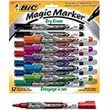BIC Magic Marker Brand Dry Erase Marker, Fine Bullet Tip, Assorted Colors, 12-Count