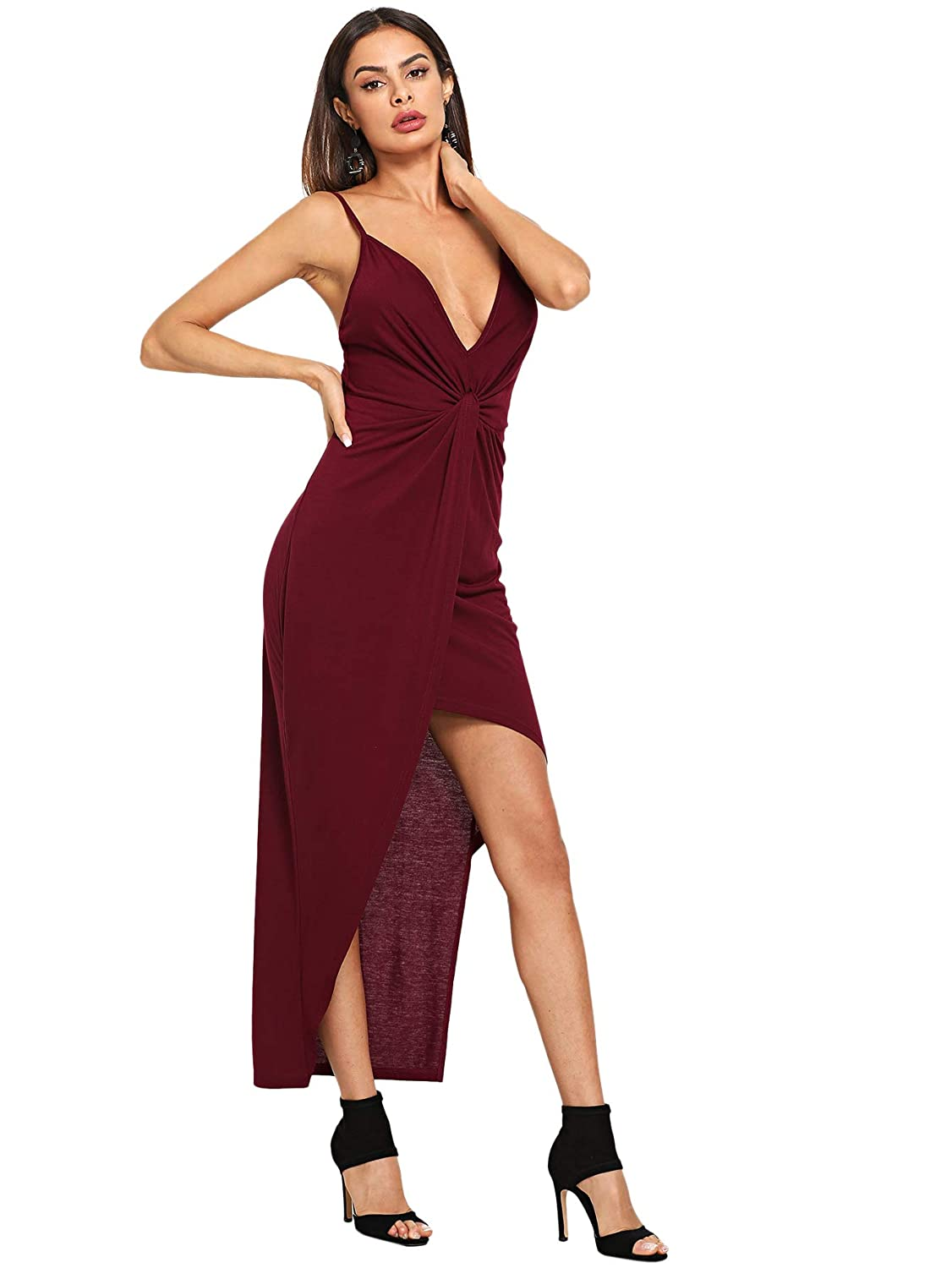 MAKEMECHIC Women s Deep V Neck Sleeveless Twist Knot Front High Low Party  Dress at Amazon Women s Clothing store  f431e55c0
