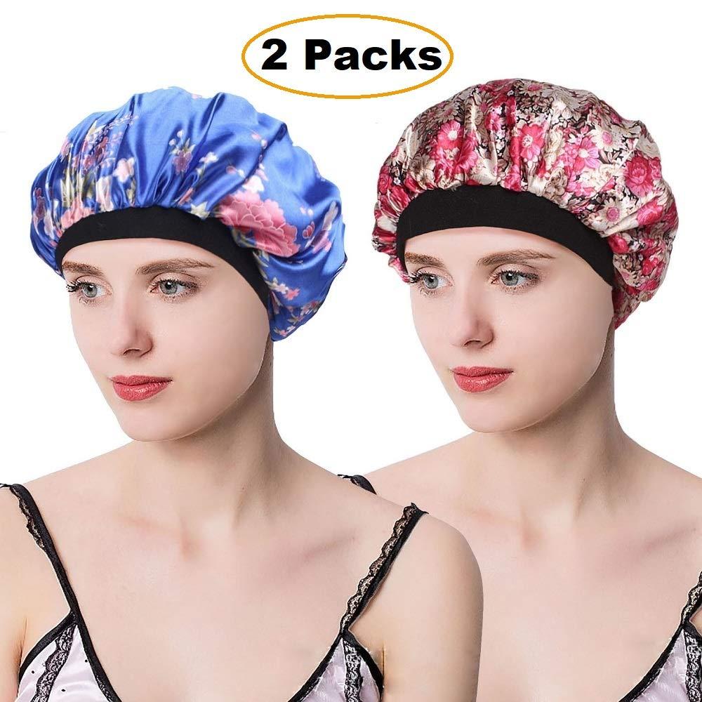 EINSKEY Schlafmütze Damen Chemo Kopfbedeckung Set, 2PCS Schlafhaube Duschhaube Mütze für Haarausfall, Haarpflege, Make up, Schlaf